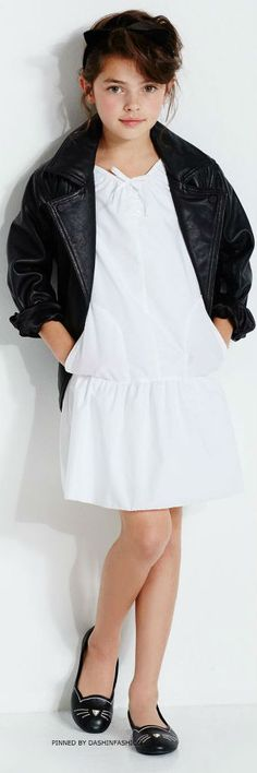 KARL LAGERFELD KIDS White 'Karl Trends' Cotton Poplin Dress & Leather Jacket. #kidsfashion #girl #karllagerfeld #kids