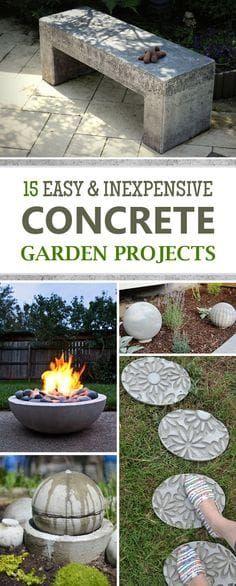 15 Easy and Inexpensive DIY Concrete Garden Projects - DIY Garden Decor Diy Garden Furniture, Concrete Furniture, Diy Garden Projects, Diy Garden Decor, Outdoor Projects, Garden Art, Furniture Ideas, Concrete Bench, Outdoor Furniture