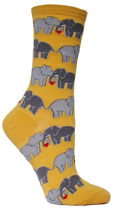 There's no denying it, your cool new pair of socks are the elephant in the room. In either buttercup or black, you will fall in love with these elephants falling in love… wait, is that legal? Either w