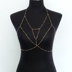 a19a727f22 Rhinestone Chain Bralette Body Chain Jewelry