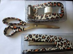 Leopard Animal Print Desk Set - Scissors Tape Dispenser and Stapler by Cosa Nova, http://www.amazon.com/dp/B00AGY7JKE/ref=cm_sw_r_pi_dp_sDGXqb083BTWD
