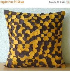 15% HOLIDAY SALE Chocolate & Mustard Spots  Euro by TheHomeCentric