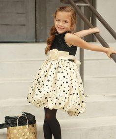Another great find on #zulily! Beige & Black Polka Dot Sparkle Dress - Toddler & Girls #zulilyfinds