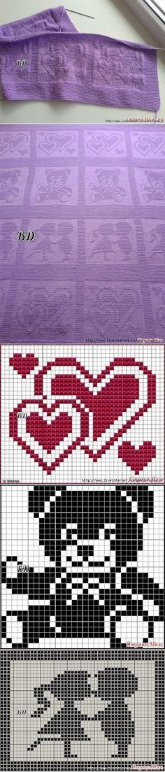 Baby Knitting Patterns Needles Children& blanket with shade jacquard Baby Knitting Patterns, Knitting Charts, Afghan Crochet Patterns, Crochet Squares, Knitting Stitches, Baby Patterns, Knitting Machine, Crochet Heart Blanket, Baby Afghan Crochet
