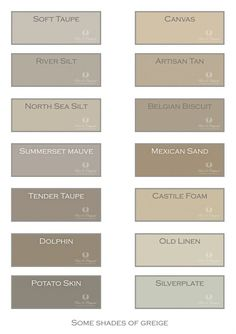 Colors of Greige. Just a small selection of our colors for this pallet of… Kitchen Paint Colors, Room Paint Colors, Interior Paint Colors, Paint Colors For Home, House Colors, Taupe Kitchen, Warm Kitchen, Greige, Lime Paint