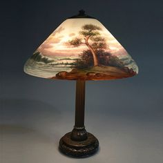 The conical shade with a chipped glass exterior, reverse painted on the interior s. on Dec 2013 Paint Shades, Lamp Shades, Stained Glass Lamps, Antique Lighting, Vases, Auction, Table Lamp, Decorations, Lights