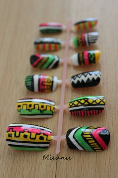 Neon Pink, Yellow, and Green Tribal / Aztec Nail Art Original Design on Wanelo