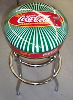 "Coca Cola Green Starburst 30"" Tall Bar Stool Chrome 50s Style New in Box Retired 