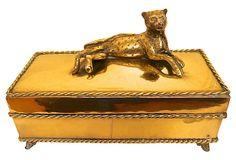 1960s Brass Leopard Jewelry Box on OneKingsLane.com