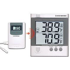 Digi-Sense Calibrated Wireless Digital Thermometer Set, 1 remote sensor > Product Type: digital indicator CE compliance: Yes Max temperature (º C): 70