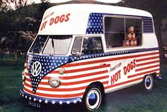 Red, White and Blue Volkswagen Transporter 1967 Hot Dogs Bus