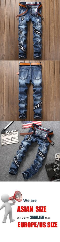 2017 Autumn New Trand Europe and The Americas Style Hole Men  Jean Straight Casual Badge Embroidery  Male Pants Fashion Trousers