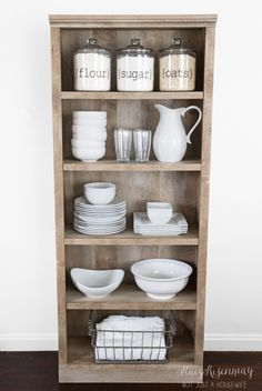 Use a bookshelf as a pantry or kitchen hutch!