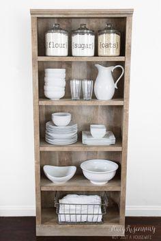 Use a bookshelf as a pantry or kitchen hutch!