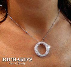 Circle Pave Diamond Pendant in 14k white gold