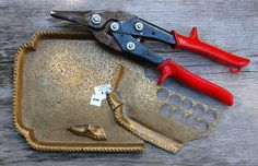 Cynthia Murray Design  Using metal shears, I cut out sections that could then fit into my disc cutter.