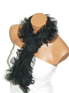 Womens shawl scarves Black Frilly fancy flower by WomanStyleStore, $19.00