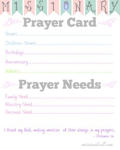 I love this!!! A Missionary #Prayer Card Free Printable to help me remember special occasions and prayer needs!