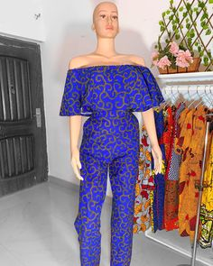 BLUE JUMPSUIT ✨ ___________________________ 🔸Visit our website 🔸  www.lamodeafrique.com 🔸WE DO WHOLESALE 🔸 _________________________________ WhatsApp +233243287843 or DM 🔴Yes we customize  _______________________________  #africanwear #ankara  #readytowear  #swimwear #africanprint #africanstyle #Ankarastyles #ankarastyle  #africanprint #africanprints #africanwear #dress #skirt  #ghanamade #madeinghana #ankaradress #africanprintdress #africaprint #africanprintsinfashion #africanprintwear… African Print Dresses, African Print Fashion, African Wear, Ankara Dress, Dress Skirt, Off Shoulder Jumpsuit, Blue Jumpsuits, African Fabric, Ankara Styles