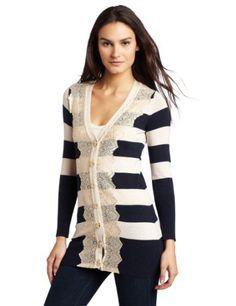 Charlotte Tarantola Womens Stripe Cardigan Sweater by Charlotte Tarantola