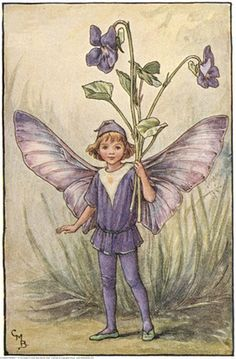 Illustration for the Dog-Violet Fairy from Flower Fairies of the Spring. A boy fairy with outspread wings, stands facing front holding a bunch of violets in his left hand.     Author / Illustrator  Cicely Mary Barker