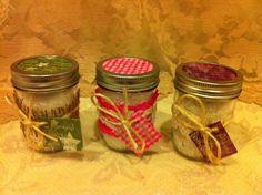 BIBLE VERSE GIFTS Mineral Bath Salts: Group of 3 Almond Vanilla Bath Salts in 8 oz Glass Mason Jars Scripture Burlap and Lace Decor. USD, via Etsy.
