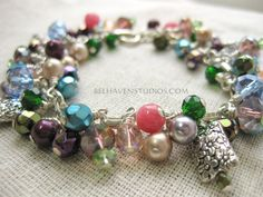 Beaded Czech glass Pearls, Crystals,semi precious gemstones beads charm-like silver bracelet Everyday Casual bracelet - pinned by pin4etsy.com