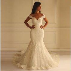 >> Click to Buy << Arabic Mermaid White Lace Wedding Dresses 2016 V-Neck Cap Sleeves Plus Size Lace Edge Vestidos De Noiva  Bridal Gowns  #Affiliate