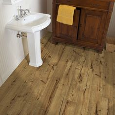 Shop Style Selections 5.43-in W x 3.976-ft L Antique Hickory Handscraped Laminate Wood Planks at Lowes.com