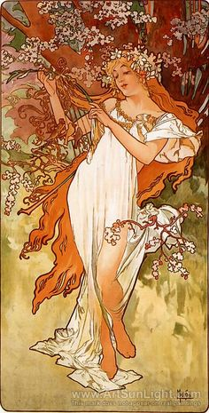 Alphonse Maria Mucha's oil painting Spring, From The Seasons Series