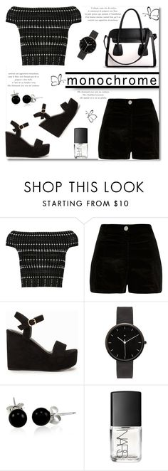 """""""Make It Monochrome"""" by truthjc ❤ liked on Polyvore featuring Alexander McQueen, River Island, Nly Shoes, I Love Ugly, Bling Jewelry, NARS Cosmetics, modern and monochrome"""