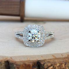 Ladies Custom Double Halo Split Shank Engagement Ring #JewelerByDesign