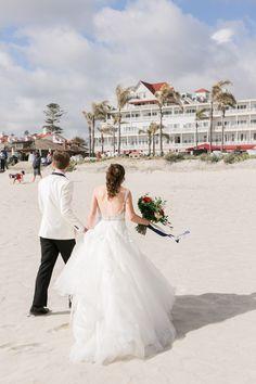 Bride and groom portrait on the beach at the Hotel del CoronadoHotel del Coronado wedding first look, Cavin Elizabeth Photography