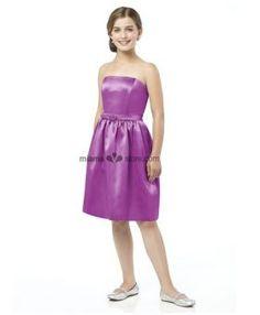 CINDY - Junior bridesmaid Cheap A-line Knee length Satin Strapless Wedding party dress