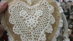 Hand-stitched brown paper heart trimmed in eyelet w/ heart doily! Now at Treasured Gifts Craftiques Mall ~ Leon Valley, TX  (w/ FB pg)