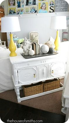 DIY Furniture Makeover Ideas : DIY Console Table Makeover & Yellow Lamps