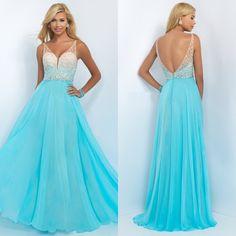 Beaded Sweetheart V-Neck Long Blush Prom Dress