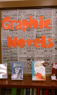 Library Bulletin Board:  Graphic Novels book display area -- Pope HS Media Center 2012