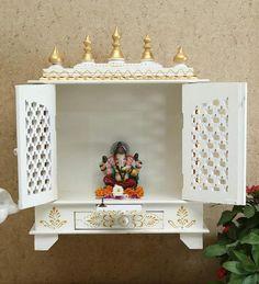 Temple Design For Home, Mandir Design, White Temple, Pooja Room Door Design, Seal Design, Art Drawings For Kids, Pooja Rooms, Office Wall Decor, Diy Art