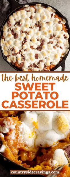 We're sharing the The Best Homemade Sweet Potato Casserole that we know you're going to love! This recipe is made with roasted sweet potatoes, butter, brown sugar, marshmallows and pecans. The only Sweet Potato Casserole you need. Freeze Sweet Potatoes, Sweet Potato Casserole, Sweet Potato Recipes, Roasted Sweet Potatoes, Recipe Using Pumpkin, Pumpkin Recipes, Fall Recipes, Holiday Recipes, Best Thanksgiving Side Dishes