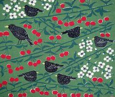 scandinavian fabric Cherry Orchard 50s vtg Marianne Westman DIY cushion pillow | eBay