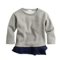 Girls' ruffle-hem sweatshirt : knits & tees   J.Crew