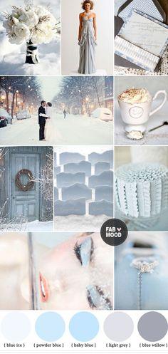 Winter wedding color palette, Blue Grey Winter Wedding Colors