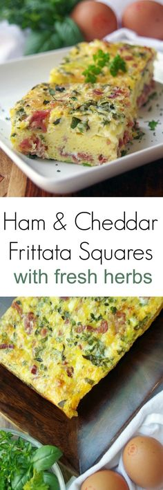 Looking for an easy frittata recipe? Try this Ham and Cheddar Frittata Squares Recipe with Fresh Herbs #EgglandsBest #EBeggs AD