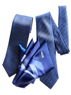 (ジリー)ZILLI ネクタイ 2本 ポケットチーフ セット プリント サファイアブルー