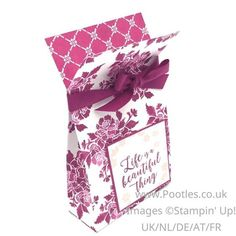 Stampin' Up! Demonstrator Pootles - Fresh Florals Bags with Colourful Seasons Stamping in Berry Burst! Click through for more details and video tutorial