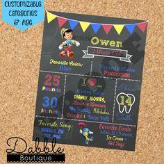 Pizarra de cumpleaños Pinocho / 1 pizarra de cumpleaños / 2 pizarra de cumpleaños /
