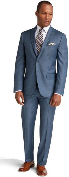 Joseph Abboud 2 Button Plain Front Slim Fit Postman Blue Sharkskin Suit Big & Tall