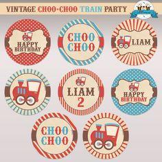 EDITABLE Vintage ChooChoo Train Birthday by LilFacesPrintables, $4.95