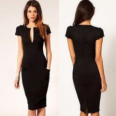Women's Fashion Sexy Short Sleeve Pencil Dress Slim Deep V Neck Pockets Skirt